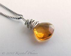Citrine Necklace  Silver Pendant sterling natural by KrisPstudio