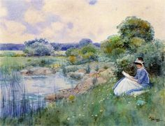 """""""Woman Reading"""" by Childe Hassam."""