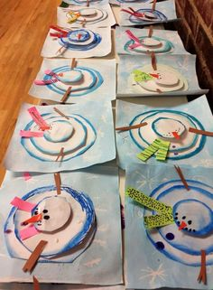 Super cute arial snowmen.  Nice to see this example created by children.