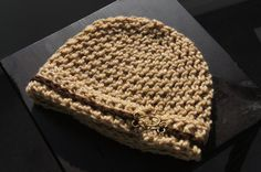 Kids crocheted hat in Oatmeal tan with brown by TheTipsyTurtle, $15.00