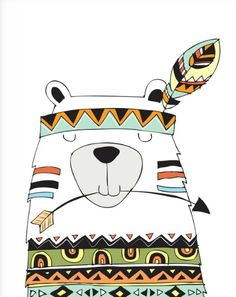 Ideas for baby art illustration forest animals Tribal Bear, Tribal Animals, Arte Tribal, Tribal Theme, Tribal Nursery, Bear Nursery, Woodland Nursery, Forest Nursery, Nursery Prints