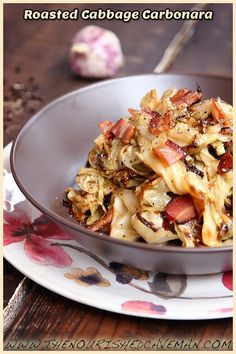 Roasted Cabbage slices has become an extremely popular recipe around the internet! This is my favorite recipe hack: turn it into noodles!! You can use it with pretty much any pasta sauce. This is my favorite one Roasted Cabbage Carbonara.
