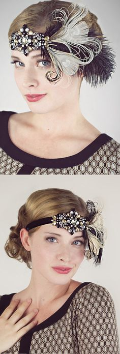 Modern nostalgia for the jazz age, flappers, speakeasies and fabulous fashion! Sparkly flapper headband in antique silver beaded art deco design.  Mix of ostrich, coque and peacock feathers down side. The perfect Gatsby colours Black and Gold. Great for Gatsby 1920's Christmas and New Years Eve Parties, or Birthday Party. #gatsbyparty #roaring20s #christmasparty #thanksgiving #Christmas #giftsforher #fashion #eveningwear #weddings #bridal #affiliatelink #handmade #shopsmall #newyearseve…