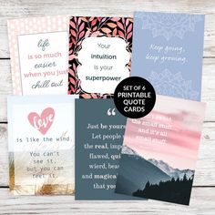 Beautiful, inspiring and motivational! These quote cards can be used in so many ways in your bullet journal or planner: page or cover decoration, bookmark, journal prompt and more. See our full range of printable quote cards on Etsy. #bulletjournal #bulletjournaling #artjournal #bujo #printablequotecards #quotecards #prettyquotecards #inspiringquotes #motivationalquotes #plannerdecorating #journalingprompt