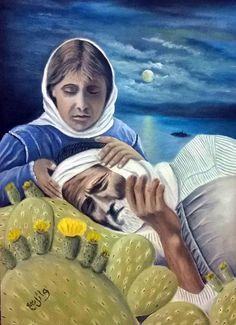 """لوحه بعنوان: """"الصبر""""، مهداة إلى أرواح إخواننا وأخواتنا شهداء الهجرة واللجوء للفنان الفلسطني وائل ربيع"""
