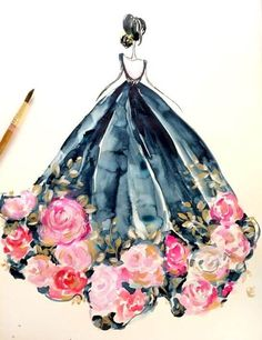 8 x 10 Rose dress indigo fashion watercolor illustration Illustration Mode, Watercolor Illustration, Watercolor Art, Watercolor Dress, Watercolour Flowers, Dress Painting, Watercolor Pictures, Fashion Design Drawings, Fashion Sketches
