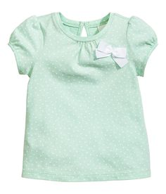 Short-sleeved Top | Mint green/dotted | Kids | H&M US