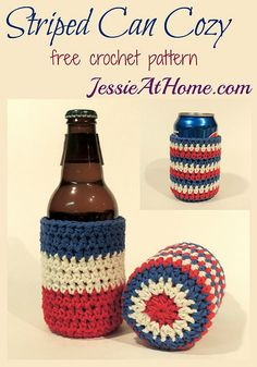 Striped Can (or bottle) Cozy ~ free crochet pattern by Jessie At Home. These are perfect for summer picnics and BBQs! Made with Lion Brand Kitchen Cotton. by minnie Crochet Cup Cozy, Free Crochet, Crochet Chain, Easy Crochet Projects, Crochet Ideas, Crochet Kitchen, Crochet Gifts, Crochet Accessories, Knitting Patterns