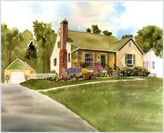 Custom House Portraits in Watercolor: When new houses had detached garages. Sweet. Note by Roger Carrier