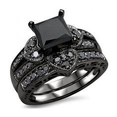 2.27ct Black Princess Cut Diamond Heart Engagement Ring Wedding Set... ($1,750) ❤ liked on Polyvore