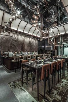 AMMO Restaurant by Joyce Wang in Hong Kong Bar Backsplash Design Bar Restaurant, Decoration Restaurant, Deco Restaurant, Modern Restaurant, Restaurant Interiors, Commercial Interior Design, Commercial Interiors, Cafe Bar, Bar Lounge