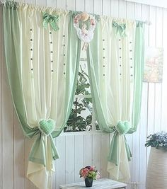 Sweet little design. Curtains And Draperies, Home Curtains, Country Curtains, Kitchen Curtains, Window Coverings, Window Treatments, Beautiful Curtains, Window Styles, Curtain Designs