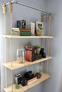 DIY-Regale und Bastelideen selber machen - DIY Holzregale - Easy Step by - Houses interior designs Step Shelves, Diy Wood Shelves, Diy Hanging Shelves, Floating Shelves, Shelving Ideas, Wall Shelves, Shelf Ideas, Hanging Storage, Kitchen Shelves