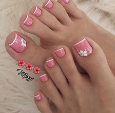 Cute Toe Nails, Cute Toes, Glam Nails, Pretty Nails, French Pedicure, Manicure E Pedicure, Pretty Nail Designs, Long Acrylic Nails, Nail Trends