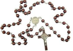"Mens Womens Ministers Gift 8MM Brown Bead Saint Benedict of Nursia Medal Centerpiece 21 Inch Silver Tone Rosary Necklace with Enamel Crucifix Religious Catholic Jewelry. Silver Tone Center and Crucifix. 21"" L Rosary / Crucifix 2"" H."