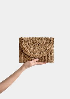 Crochet Raffia Clutch in Tan, Straw Summer Bag, Raffia Clutch Handbag, Tan Crochet Summer Bag, Crochet Straw Clutch — Marigold Bag Crochet Clutch, Crochet Purses, Clutch Mini, Clutch Purse, Hand Crochet, Hand Knitting, Summer Tote Bags, Etsy, Tricot