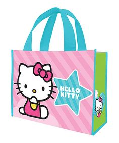 Love this Green  amp  Pink Stripe Hello Kitty Shopping Tote - Set of Two on e2de09a19c