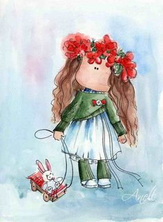 Girl with bunny - Watercolor Print - Watercolor Painting - Poster Giclee wall print - Home Wall decor - Baby nursery print Kids room