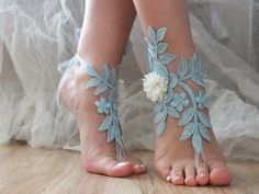 Blue Barefoot Sandals, ivory flower lace sandals, Nude shoes, Gothic, Foot jewelry,Wedding, Victorian Lace, Sexy, Yoga, Anklet , Belly Dance
