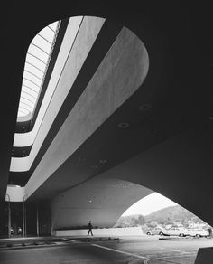 The Marin County Civic Center in San Rafael, California was designed by Frank Lloyd Wright in 1957–62. This photo of the main entrance of the administration building was part of a 2009 exhibition at the Guggenheim Museum.