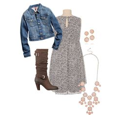 Family Photo Outfit Idea, dress with jean jacket and high heel boots (cowboy boots)