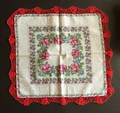 Vintage Ladies Hanky Red Hand Crochet Lace Roses