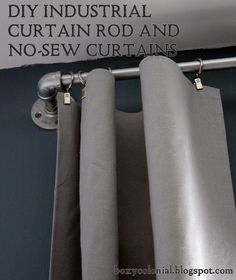For Noah's room. Boxy Colonial: DIY Industrial Curtain Rods and No-sew Curtains: An Ari's Room Update