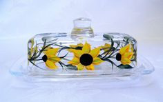 Butter dish sunflower butter dish hand painted by morningglories1