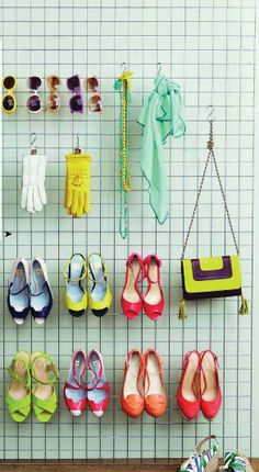This would be great if it could somehow be made pretty! Wardrobe hanging grid for my high heels and bags.
