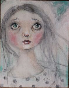 primitive folk art angel portrait painting k d milstein PFATT