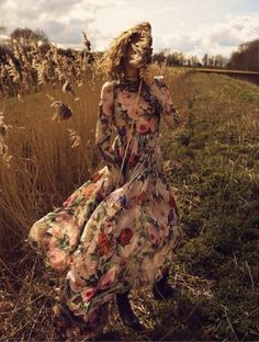 Sophia Ahrens for Vogue Spain June 2016 - Dolce & Gabbana floral print maxi dress