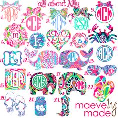 Monogram in Lilly Pulitzer Prints ~ Personalized Vinyl Decal ~ Initials ~ Pretty… Cricut Monogram, Monogram Shirts, Monogram Decal, Monogram Design, Monogram Fonts, Monogram Car Decals, Anchor Monogram, Free Monogram, Cricut Fonts