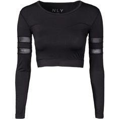 Nly Sport Crop Top (320 ARS) ❤ liked on Polyvore featuring tops, crop tops, shirts, black, sports fashion and womens-fashion