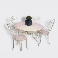 Salon De Jardin M Tal Blanc 39 Romance 39 1 Table Ronde 4