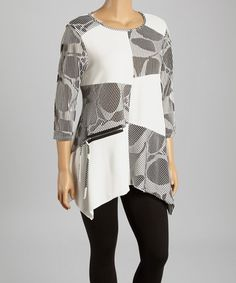 Love this Ivory & Gray Patchwork Sidetail Tunic - Plus by Come N See on #zulily! #zulilyfinds