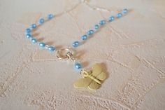 Blue Pearl Butterfly Necklace