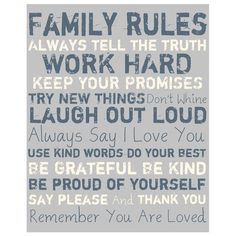 Family Rules Canvas Art in Grey.