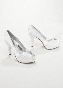 """Stunning and chic, this charmeuse peep toe is perfect for adding style on your special day.  Pleated detail adds texture and dimension.  Crystal ornamentbrings sparkle and shine.  4"""" heel, 1"""" platform, leather insole. Imported."""