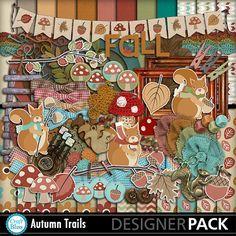 Sale Autumn Trails Digital Scrapbook Kit Textured by craftbliss