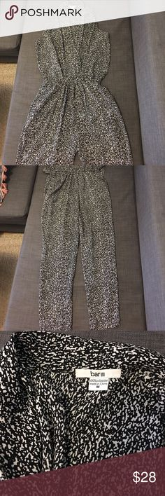 Bar III Jumpsuit black & white speckled - Size M Bar III Jumpsuit black & white speckled w. Deep V in front and tie around waist- Size M Bar III Other