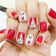 80 Gorgeous Christmas Nail Art Designs To Beautify The Moment - Page 145 of 160 - CoCohots - Nail Designs Cute Christmas Nails, Christmas Nail Art Designs, Xmas Nails, New Year's Nails, Holiday Nails, Hair And Nails, Christmas Acrylic Nails, Santa Christmas, Christmas Time