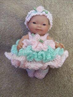 (4) Name: 'Crocheting : Pistachio Dress for 5 in Berenguer
