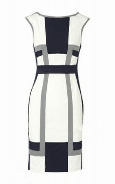 Karen Millen Graphic Colour Block Dress White Grey Black [#KMM037] - $85.39 :