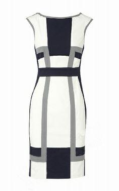 Karen Millen Graphic Colour Block Dress White Grey Black [#KMM037] - $85.39 :