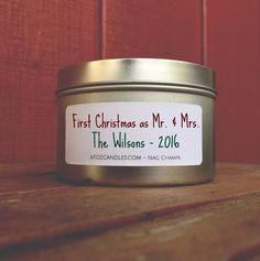 Our First Christmas, First Christmas as Mr and Mrs, First Christmas Married, First Christmas Candle, Mr. Mrs. Gift, Personalized Candle by AtoZCandles on Etsy https://www.etsy.com/listing/491086467/our-first-christmas-first-christmas-as