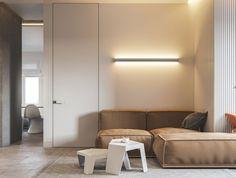 M3 Architects ha diseñado un apartamento de soltero para un joven ingeniero de informática, donde se juega con colores claros y un mobiliario esencial