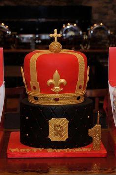Red, Black & Gold Royal Crown Cake