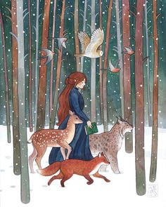 Charming Watercolor Illustrations Capture Adventures of Women and Their Animal Companions Storybook illustrations by Anna Speshilova Forest Illustration, Illustration Artists, Children's Book Illustration, Watercolor Illustration Children, Collage Illustrations, Princess Illustration, Friends Illustration, Fantasy Forest, Fantasy Art