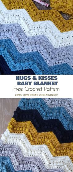 Elegant Ripple Blanket Free Crochet Patterns - Hugs and Kisses Baby Blanket - Crochet Afghans, Crochet Throw Pattern, Crochet Ripple Blanket, Crochet Quilt, Afghan Crochet Patterns, Free Crochet, Chevron Crochet Blanket Pattern Baby, Crocheted Baby Blankets, Crochet Throws