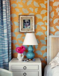 wow wallpaper paired with wow blue zebra drapes. stunning. chic.